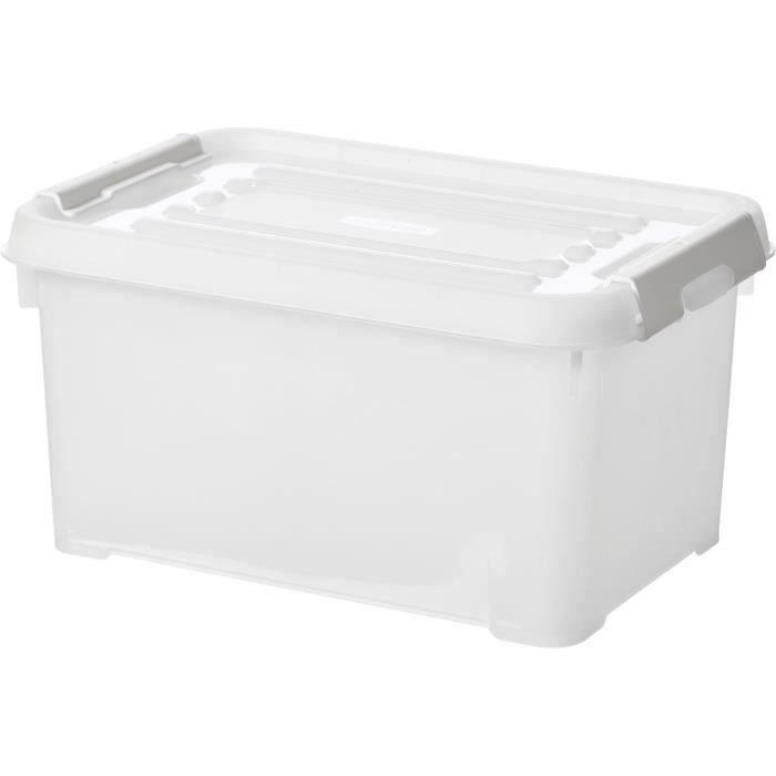 CURVER - Handy box - Plus 6L + clips gris avec couvercle 100% recyclée