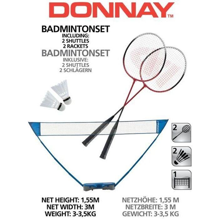 Ensemble de Badminton Donnay - 1 Filet, 2 Raquettes, 2 Shuttles - avec Valise de Rangement - Filet de Badminton - Poteaux Extensible