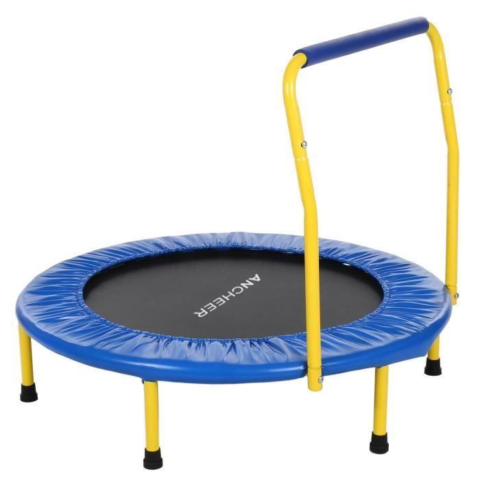 Mini Trampoline fitness sport Ø 91.4cm Max charge 68 kg avec housse de couverture rembourrée pour enfant -Bleu