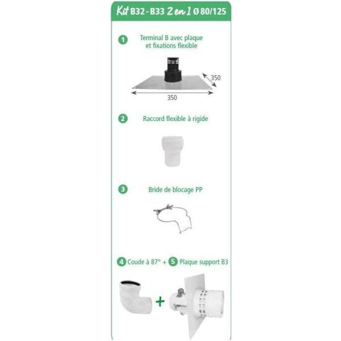 Kit pour chaudière à condensation Gaz et Fioul b32 -b33 2 en 1 ø 80/125 noir