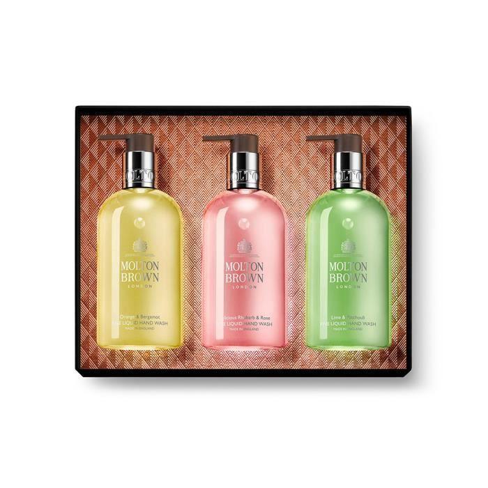 Molton Brown Pack de 3 Savon main 300 ml Hand wash Orange & bergamot, Delicious Rhubarb & rose, Lime & Patchouli