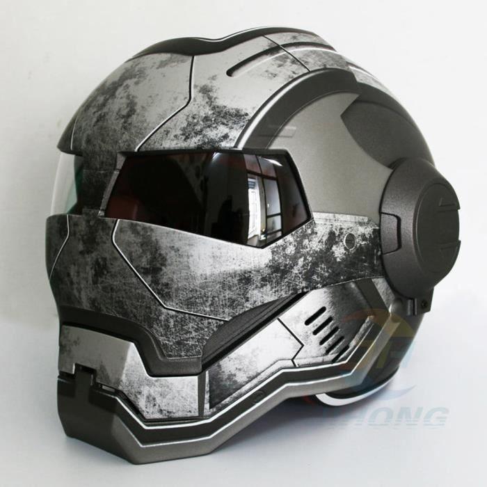 Argent M-XXL Iron Man casque de moto Visage complet