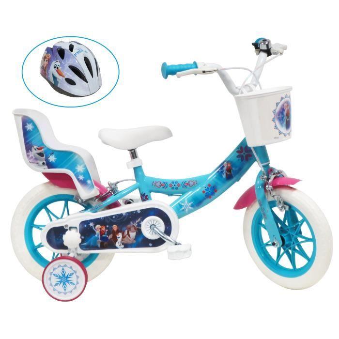 Vélo enfant fille 12'' REINE DES NEIGES équipé de 2 freins, panier avant, porte poupée, pneus EVA, 2 stabilisateurs + CASQUE INCLUS