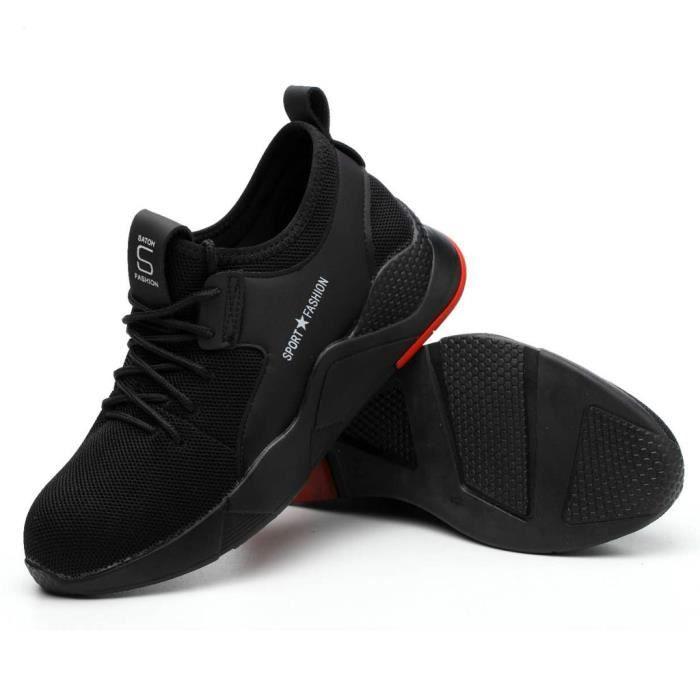 Hommes Femmes Toe travail Casquettes acier Randonnée pédestre Courir Chaussures de sport Chaussures de sécurité 44 Noir