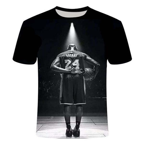 T-shirt pour dessin animé,3D imprimé Kobe Bryant hommes femmes enfants T-shirt Harajuku mode haut joueur de basket-ball noir Mamba