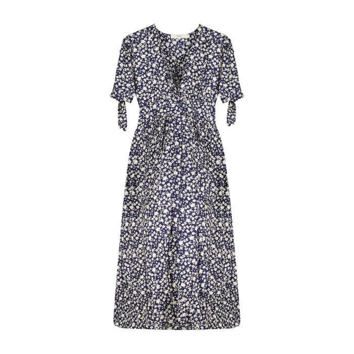 DEELUXE Robe longue à imprimés fleuris GLORIA Blue Liberty