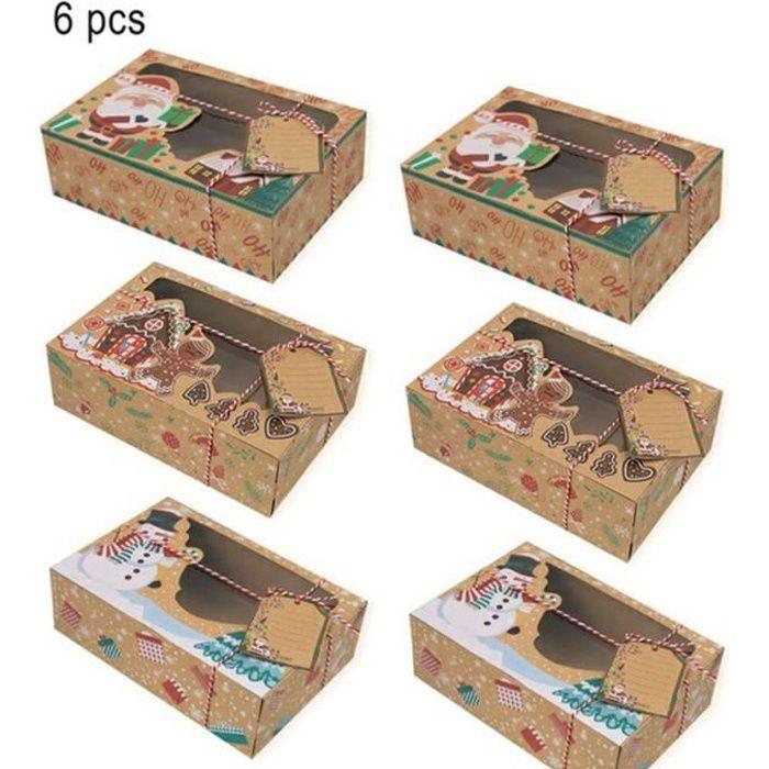 kiss-Coffret De Biscuits Pour Noël Coffret En Papier Kraft Pour Bonbons Chocolat De 3 Styles, 6Pcs