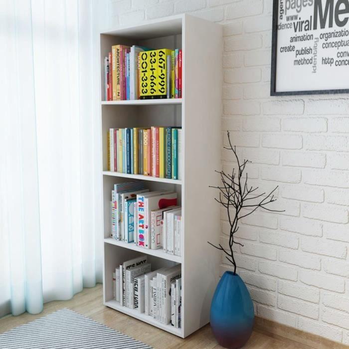 Bibliothèque Aggloméré 60 x 31 x 155 cm Blanc Bibliotheque Scandinave Meuble de rangement Étagère de livres Meuble escalier