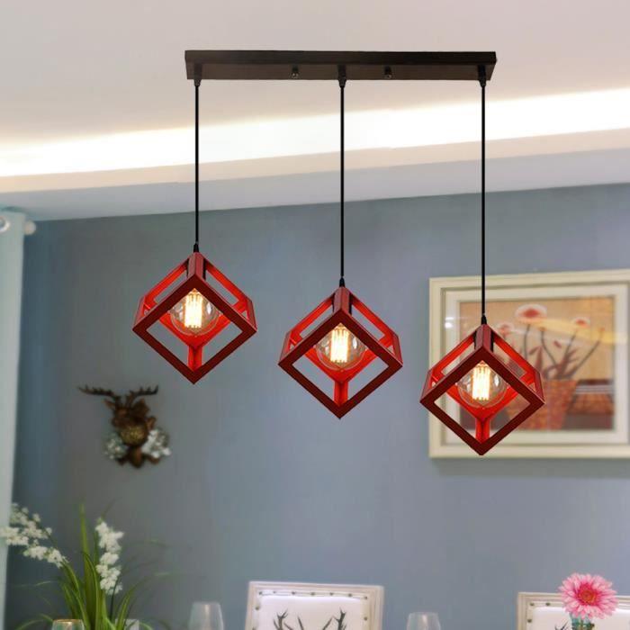 Rouge Industrielle Lustre en Métal Rétro 3 Lampes de Suspension E27 Douille pour Cuisine, Salle à manger, Salon