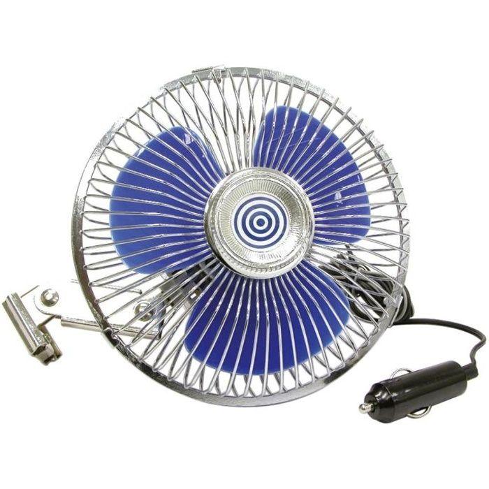 Ventilateur 12v métal, sur bras oscillant, 15,3cm