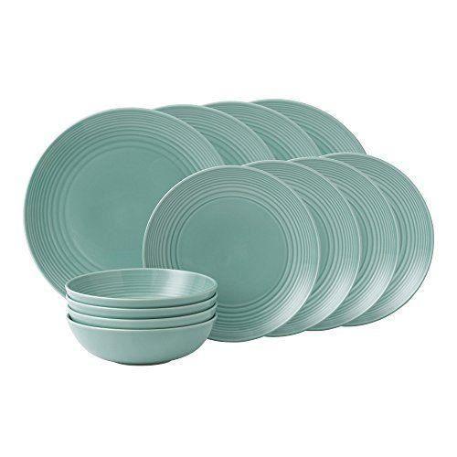 Royal Doulton Maze Service de vaisselle 12 pièces en grès Bleu sarcelle - GRMZTE22417