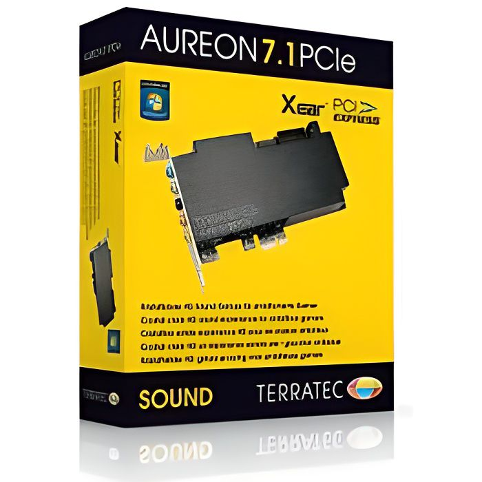 Terratec Carte de son interne Aureon 7.1 Pcie Qualité audio : 24 bit Snr : 100 Db Connectique : Pci E Ram minimale : 1024 Mo