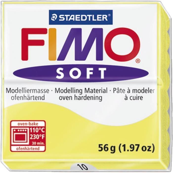 STAEDTLER Pâte à modeler à cuire Fimo Soft bloc 56 g limon