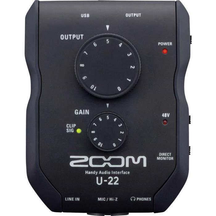 Interface audio Zoom U-22 contrôle de monitoring, logiciel fourni