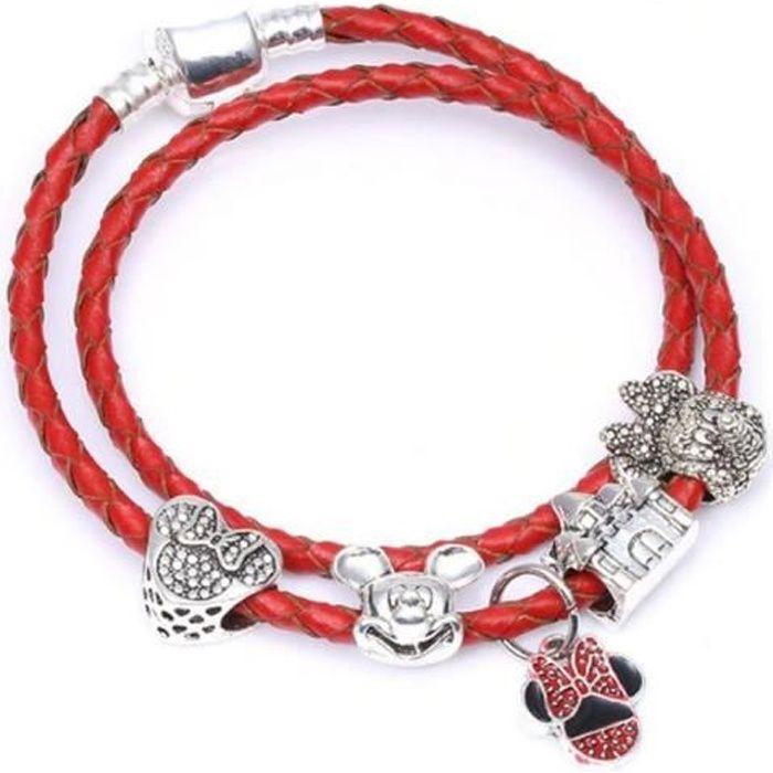 bracelet pandora cuir rose simple
