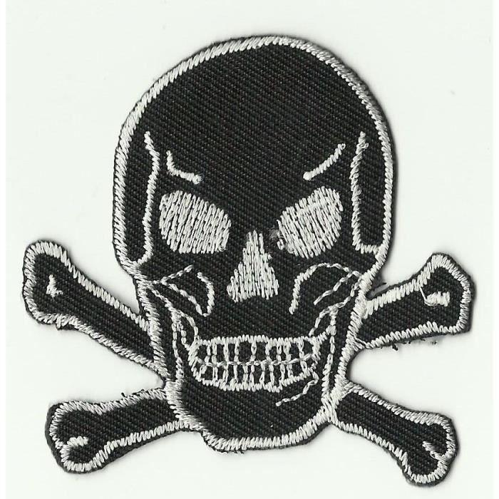 ECUSSON PATCH THERMOCOLLANT SKULL BIKER TETE DE MORT GRIS ET NOIR 8,5 X 6,8 CM