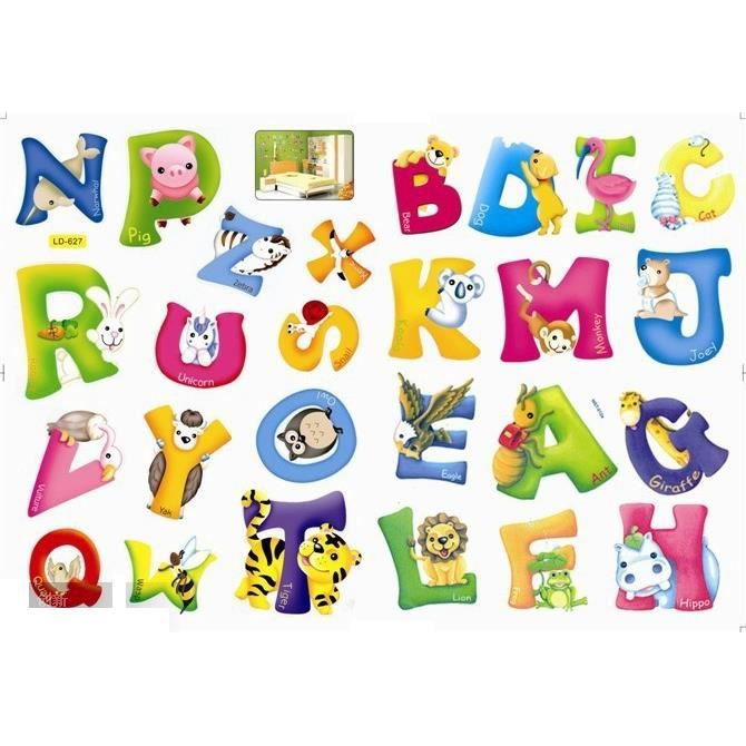 sticker mural alphabet animaux achat vente stickers cdiscount. Black Bedroom Furniture Sets. Home Design Ideas