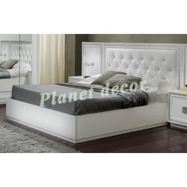 lit 160x200 model krystel blanc achat vente structure de lit soldes cdiscount. Black Bedroom Furniture Sets. Home Design Ideas