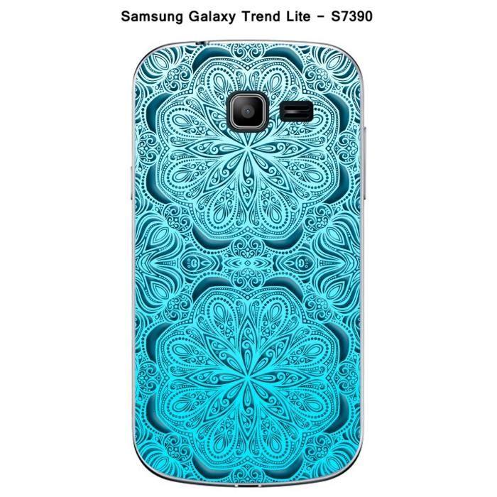 Coque Samsung Galaxy Trend Lite S7390 design Mandala 2 rosaces bleu & bleu