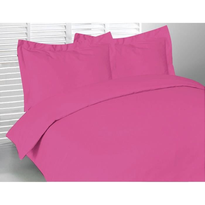 housse de couette 220x240 cm pur coton 57 fils fuchsia. Black Bedroom Furniture Sets. Home Design Ideas
