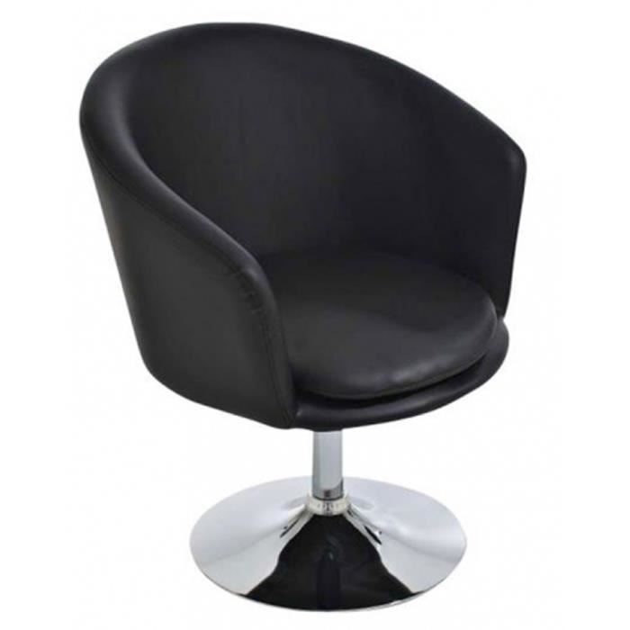 Chaise lounger salon en similicuir coloris noir achat for Chaise salon noir