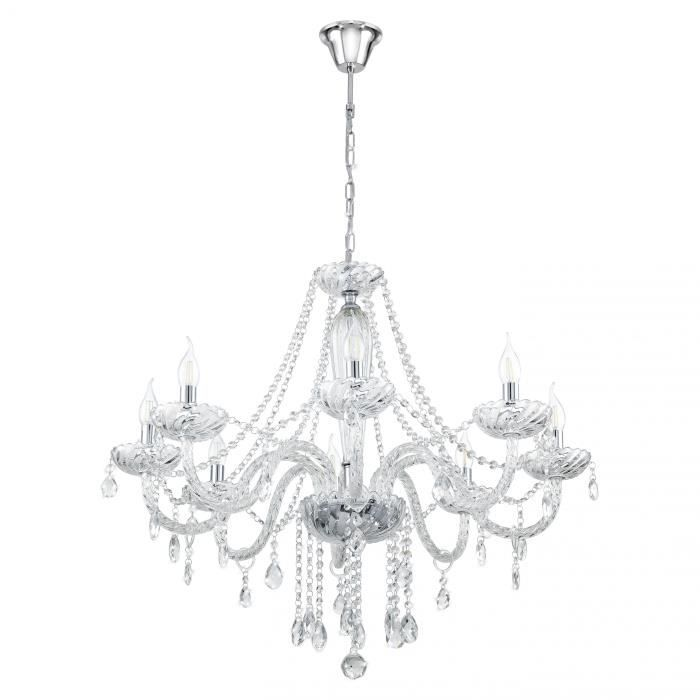 Lustre suspension en cristal 39 basilano 1 39 klar 8 ampoules for Lustre en suspension
