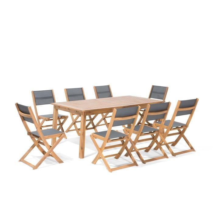Salon de jardin en bois 8 personnes Chaises en tissu gris Cesana