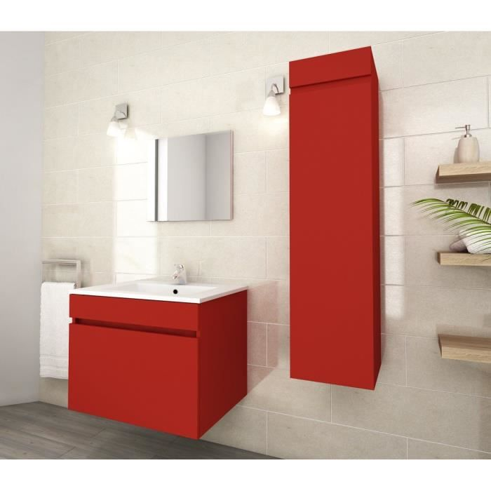Ordinaire LUNA Ensemble De Salle De Bain Simple Vasque L 60 Cm   Rouge Mat