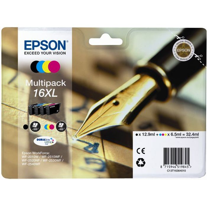 epson t1636 xl stylo plume cartouches d 39 encre multipack prix pas cher cdiscount. Black Bedroom Furniture Sets. Home Design Ideas