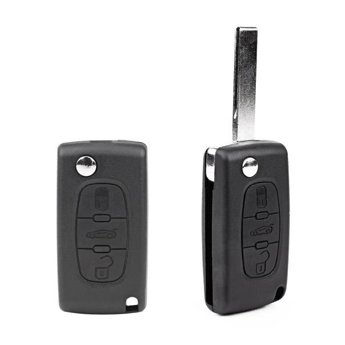 Coque 2 boutons pliable CLE pour telecommande PEUGEOT 207 307 308 407 /& CITROEN C2 C3