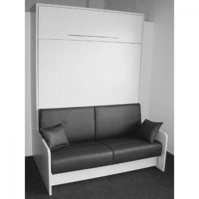 armoire lit escamotable space sofa blanc mat c achat vente lit escamotable cdiscount. Black Bedroom Furniture Sets. Home Design Ideas
