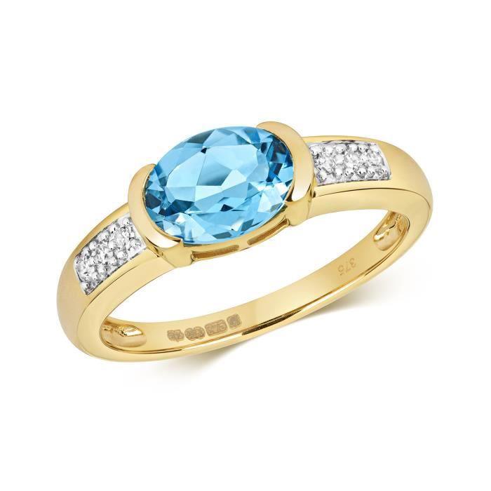 bague or avec topaze bleue