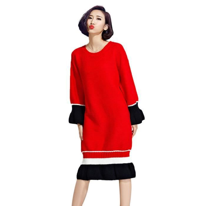 ca19b2c2f2d Automne   Hiver Plus Size femme Robe pull rouge Rouge Rouge - Achat ...