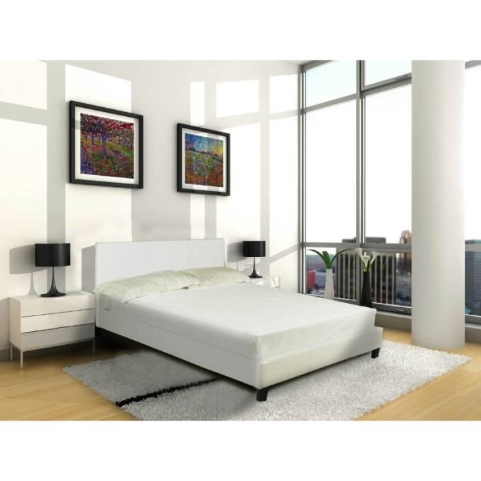 vance lit adulte 160x200cm blanc sommier achat vente structure de lit vance lit 160x200. Black Bedroom Furniture Sets. Home Design Ideas
