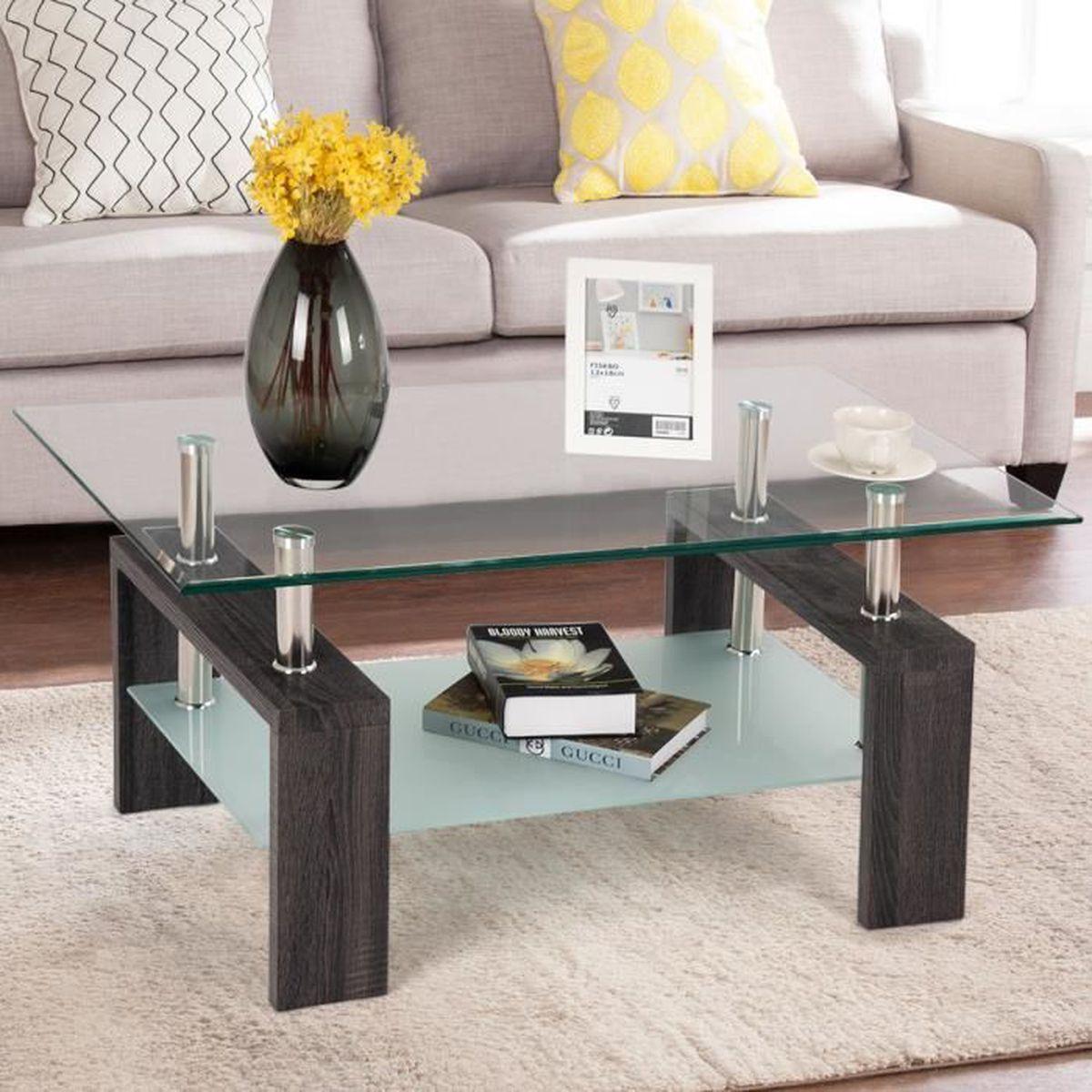COSTWAY Table Basse Table d'appoint de Salon avec Etagère Inférieure en  Verre Trempé Transparent Plateau 100 x 60 x 45 cm Noir