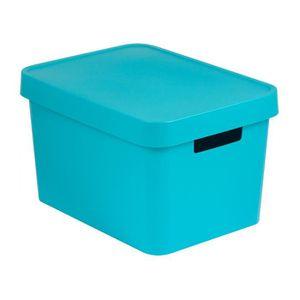 PANIER A LINGE Boîte de Rangement avec Couvercle Plastique Turquo