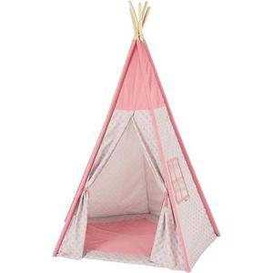 TENTE TUNNEL D'ACTIVITÉ howa - Tente enfant tipi rose avec tapis 8501