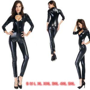COLLANT Plus Size Sexy Catsuit en cuir Fetish Gothique Cos