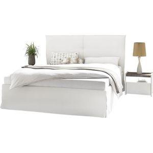 STRUCTURE DE LIT Cadre + Tête de lit 160*200 cm Simili cuir Blanc -