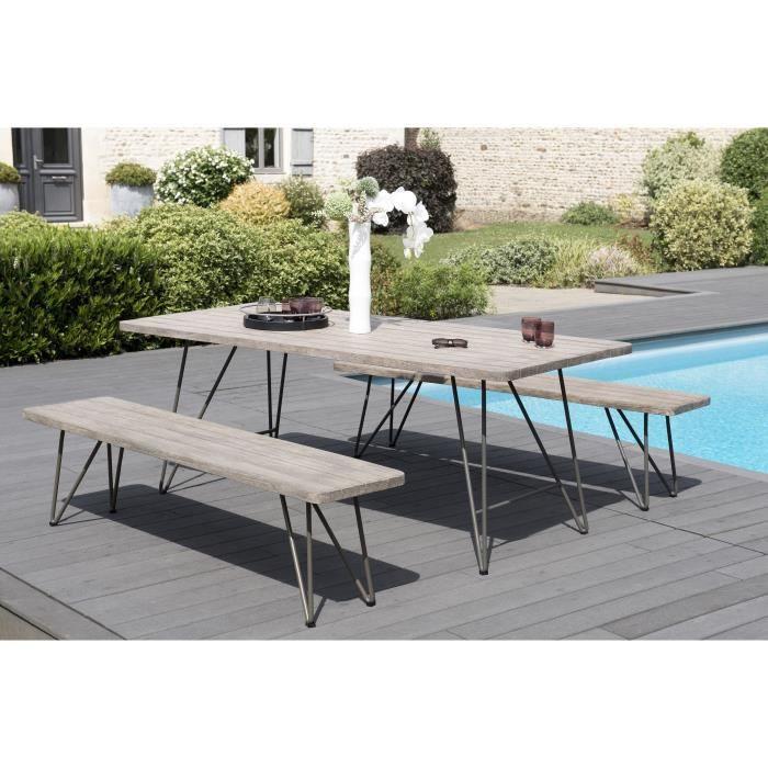 Ensemble de jardin en teck : 1 table à manger pieds scandinaves - 2 bancs pieds scandinaves JARDITECK