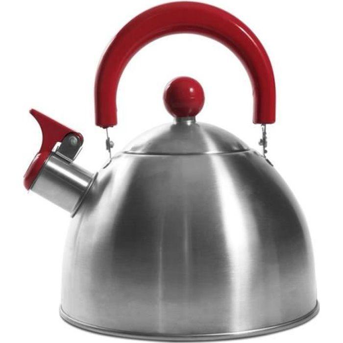 Bouilloire sifflant tous feux - Inox - 1,5L - Rouge