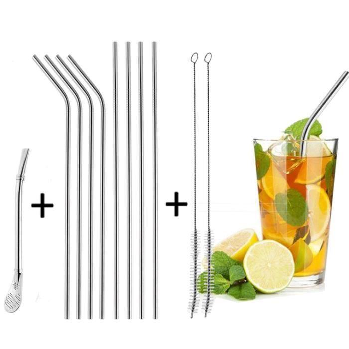 Pailles en Acier Inox,90pcs Pailles inoxydable Réutilisable inclus 1pcs Paille à Mojito pour Cocktail avec 2pcs Brosse de Nettoyage