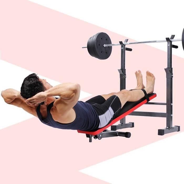 QIHEIYA Banc de Musculation Abdominaux Pliable Hauteur Réglable Noir et Rouge