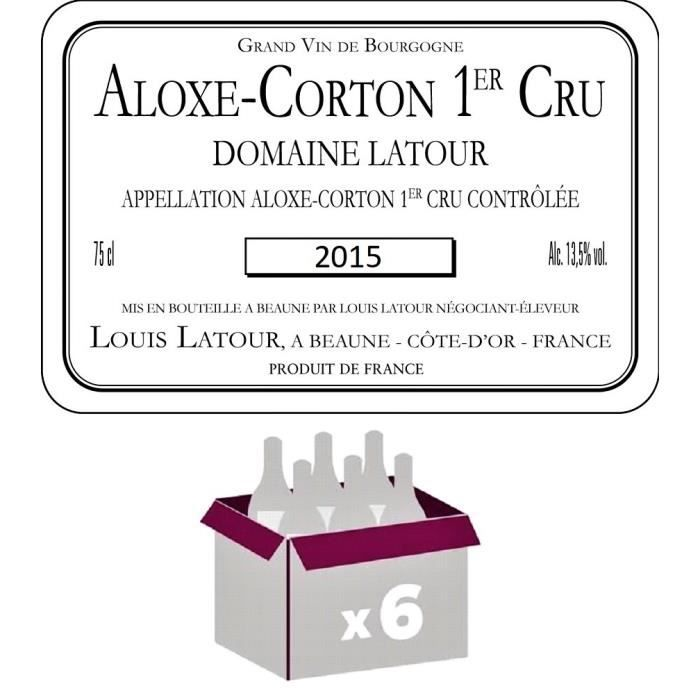 Lot de 6 Bouteilles Aloxe Corton 1er Cru 2015 Domaine Latour