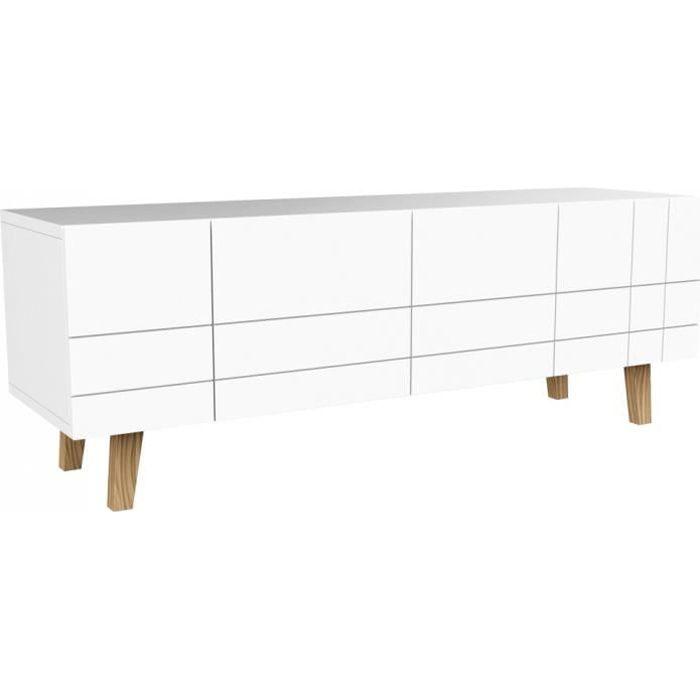 LONDON Meuble TV scandinave laqué blanc mat - L 140 cm