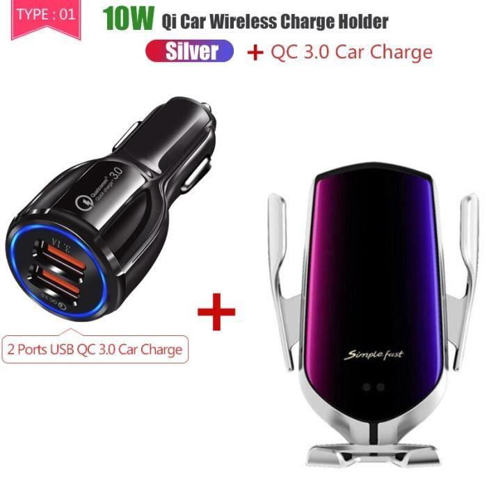 15W voiture chargeur sans fil Qi téléphone rapide Charge chargeurs d'origine support d - Modèle: 10 and Charge Silver - TOWXCA05001
