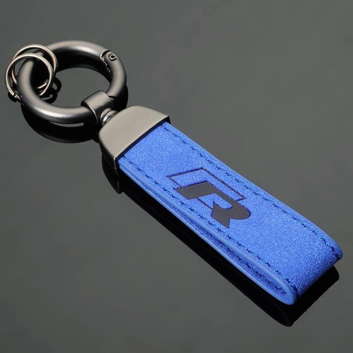 R LOGO Porte-clés anneau noir pistolet en daim bleu pour Volkswagen Passat Lavida Golf Jetta Magotan Bora