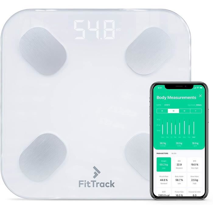 FitTrack Pèse-Personne Impédancemètre Dara - 17 Indicateurs de Santé -% de Gras, Muscle, Eau, Masse Osseuse, Métabolisme Basal, Form