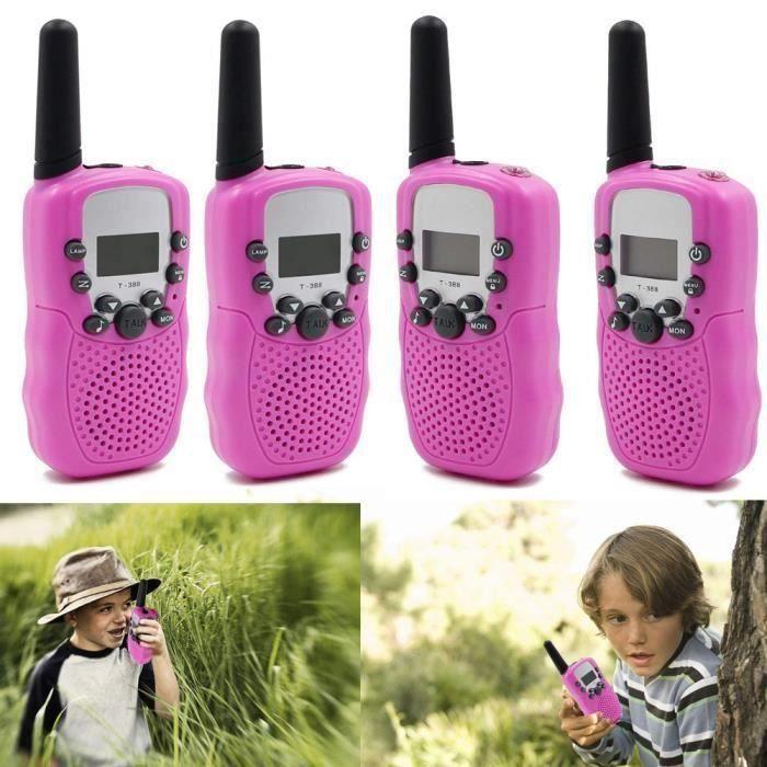 4Pcs talkie walkie Enfant 8 canaux Multi-Canaux 2-Way 3KM LCD UHF Auto VOX talkie walkie Jouet Rose