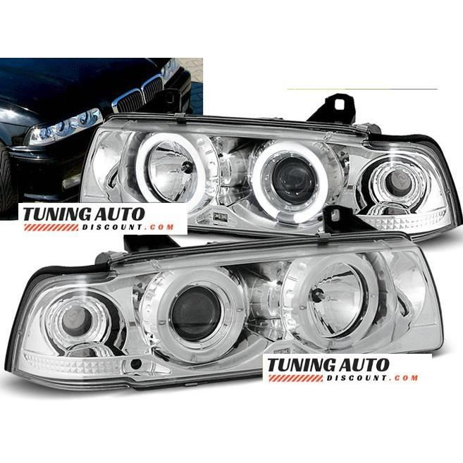 Phares avant BMW e36, 12.90-08.99 angel eyes chrome ( 26915 )